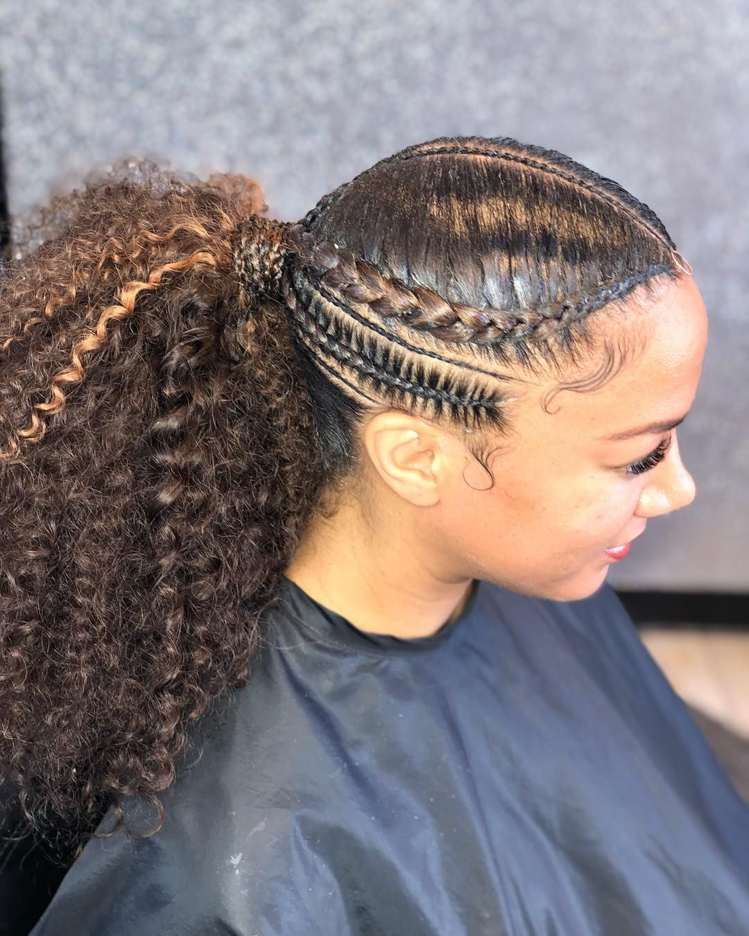 Feed In Braids Up Into A Ponytail Protectivestyles Braids Feedin Braids Ponytail Cornrows Red Hair Hair Styles Braided Hairstyles Cornrow Hairstyles