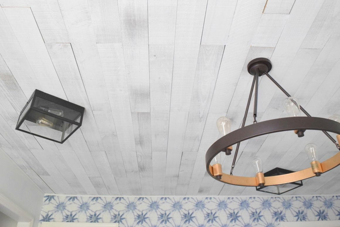 Popcorn Ceiling Makeover Wood Planks Nesting With Grace Popcorn Ceiling Makeover Popcorn Ceiling Wood Plank Ceiling