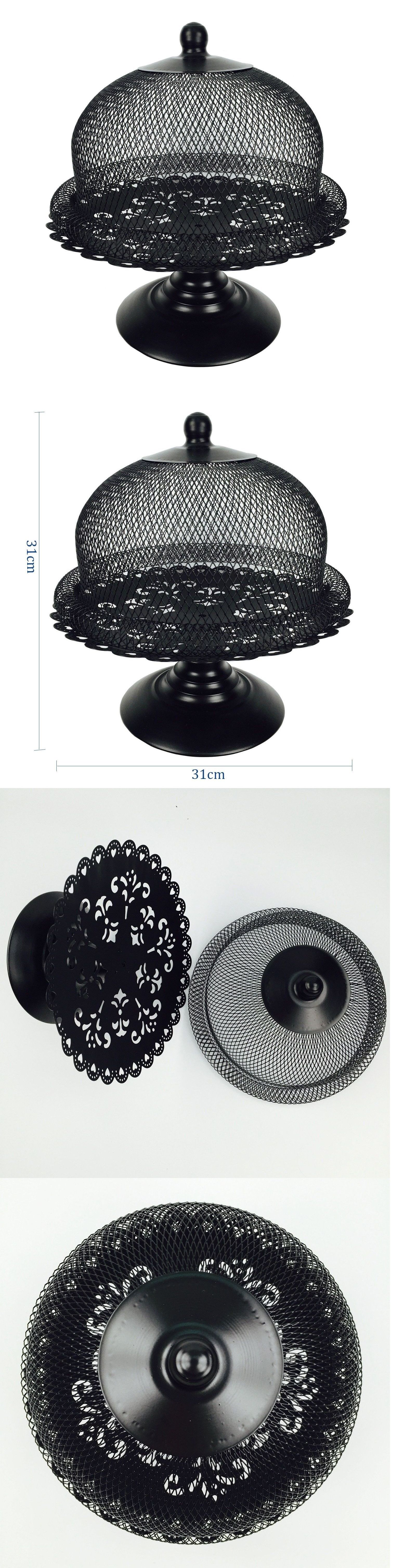 Cake stands 177010 black cake stand and dome lid metal