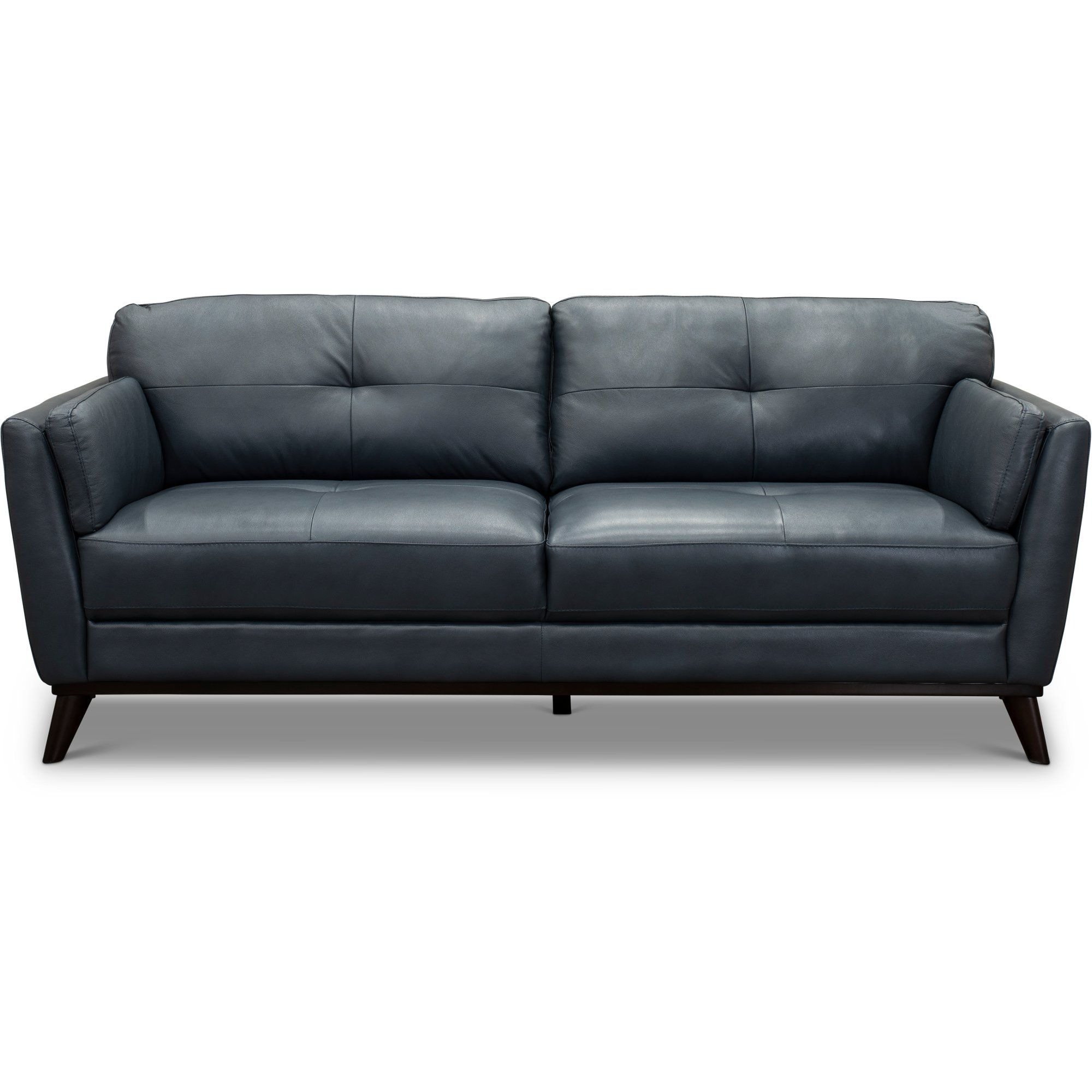 Modern Dark Blue Leather Sofa Warsaw Rc Willey Furniture Store In 2020 Blue Leather Sofa Leather Sofa Modern Leather Sofa