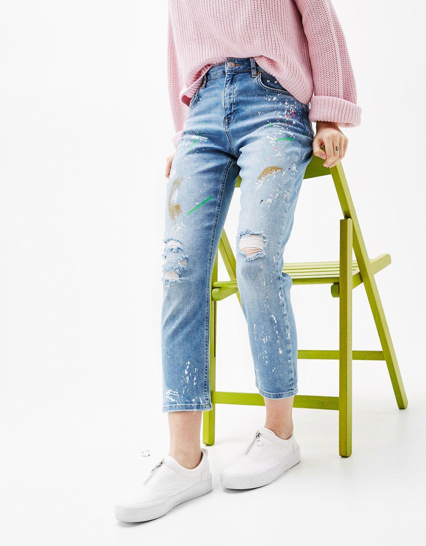 f942f5a37bad47 Jean cigarrette fit taches de peinture - Jeans - Bershka France