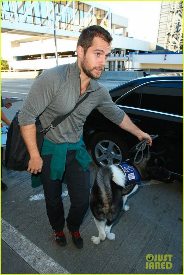 Henry Cavill with Buddy Kal - EL at the Airport in Los Angeles CA 2015