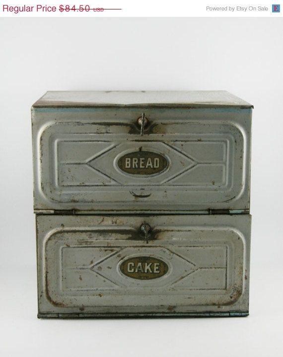 Primitive Two Tiered Tin Bread Cake Box Safe 7 Time Treasury