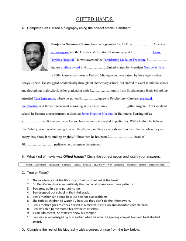 Movie Worksheet Gifted Hands Ben Carson 39 S Story