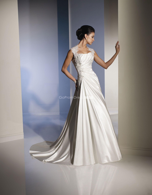 Unique square satin cap sleeve laceup back wedding dress