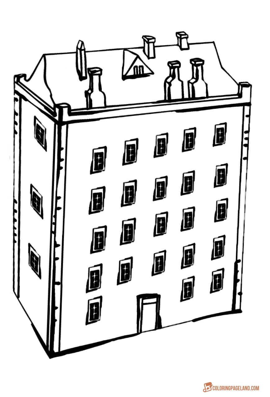 Library Building Coloring Pages Library Building Coloring Pages