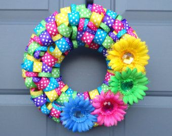 Photo of Easter Spring Mother's Day Flower Ribbon Wreath