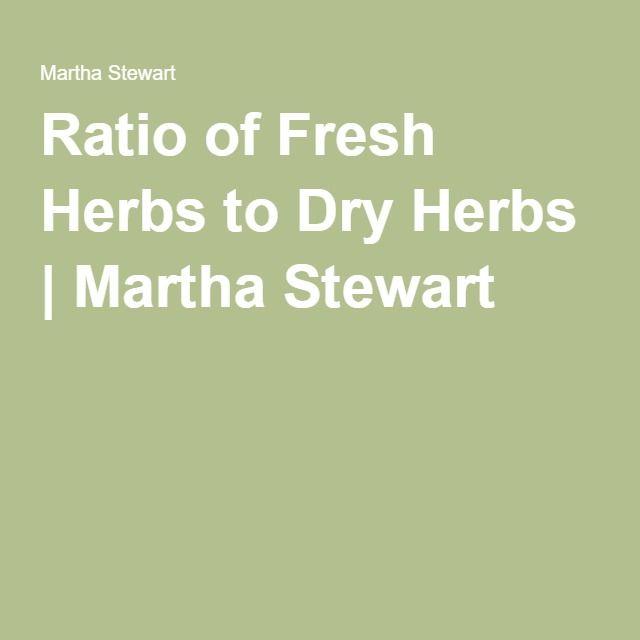 Ratio of Fresh Herbs to Dry Herbs | Martha Stewart