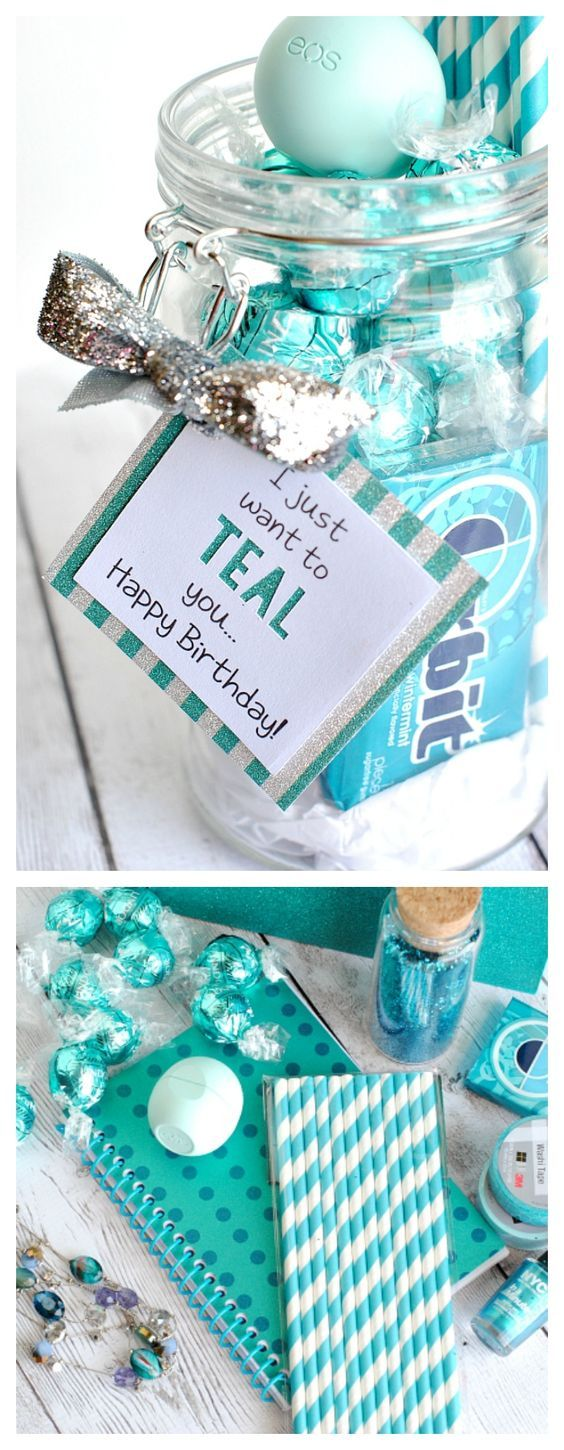 Teal birthday gift idea for friends happy birthday teal and birthdays do it yourself gift basket ideas for all occassions teal theme gift theme idea with printable gift tags for birthday friend just because and thank you solutioingenieria Images