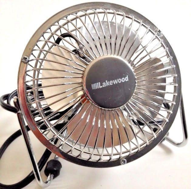 Vintage Lakewood Fan 120V HV 4 Chrome Metal Tabletop Desk Fan 1 Speed Tilts  #