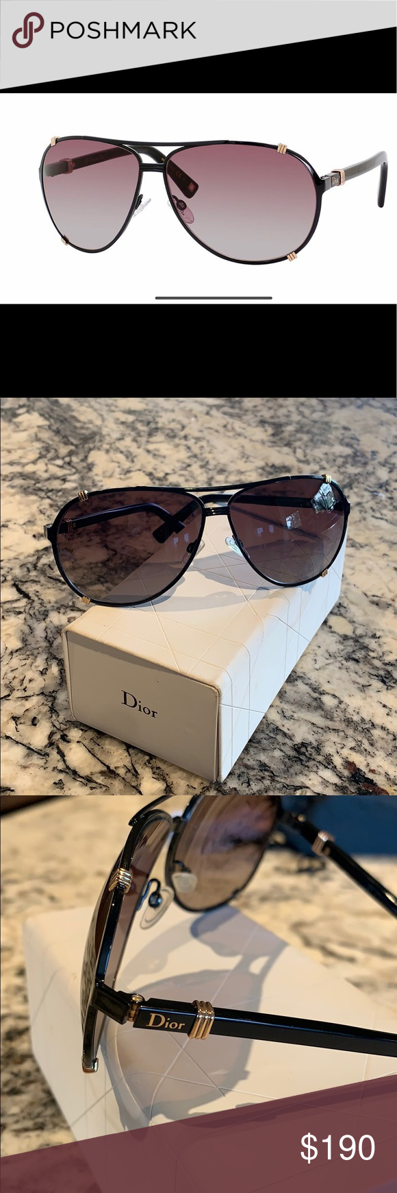 c67f047c77e0 Christian Dior Chicago 2 aviator sunglasses Beautiful lightly used  authentic Dior black and gold sunglasses Dior Accessories Sunglasses