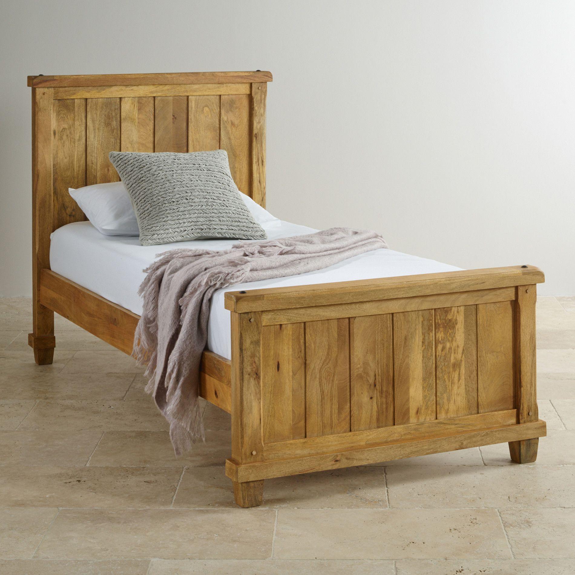 Baku Light Natural Solid Mango 3ft Single Bed Furniture Oak Furniture Land Kids Room Furniture