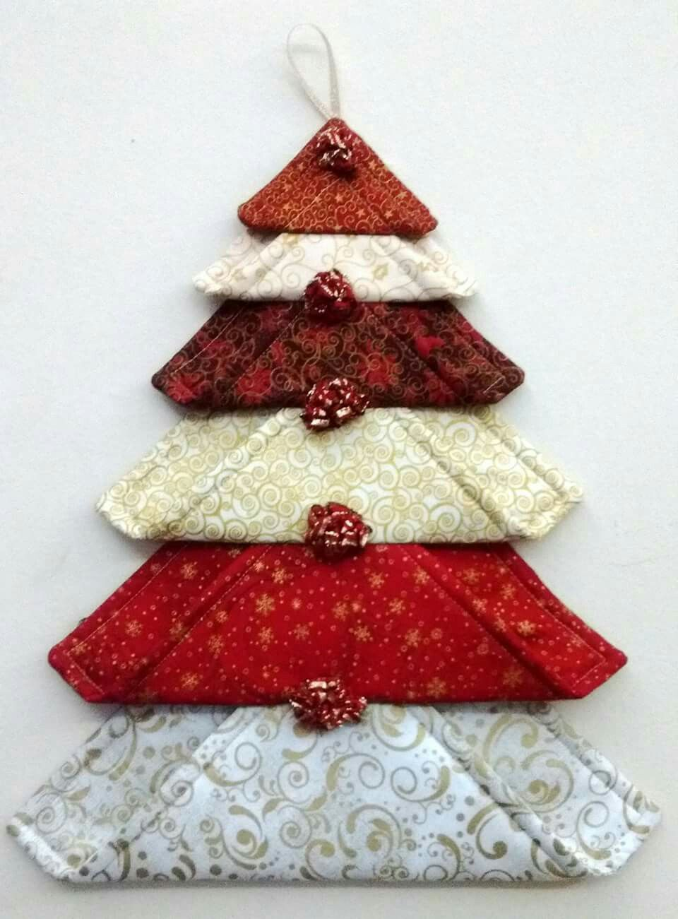 Fabric Blocks In Different Sizes To Make A Tree Decoration Would Be Lovely In Green Or Othe Fabric Christmas Ornaments Fabric Christmas Trees Christmas Fabric