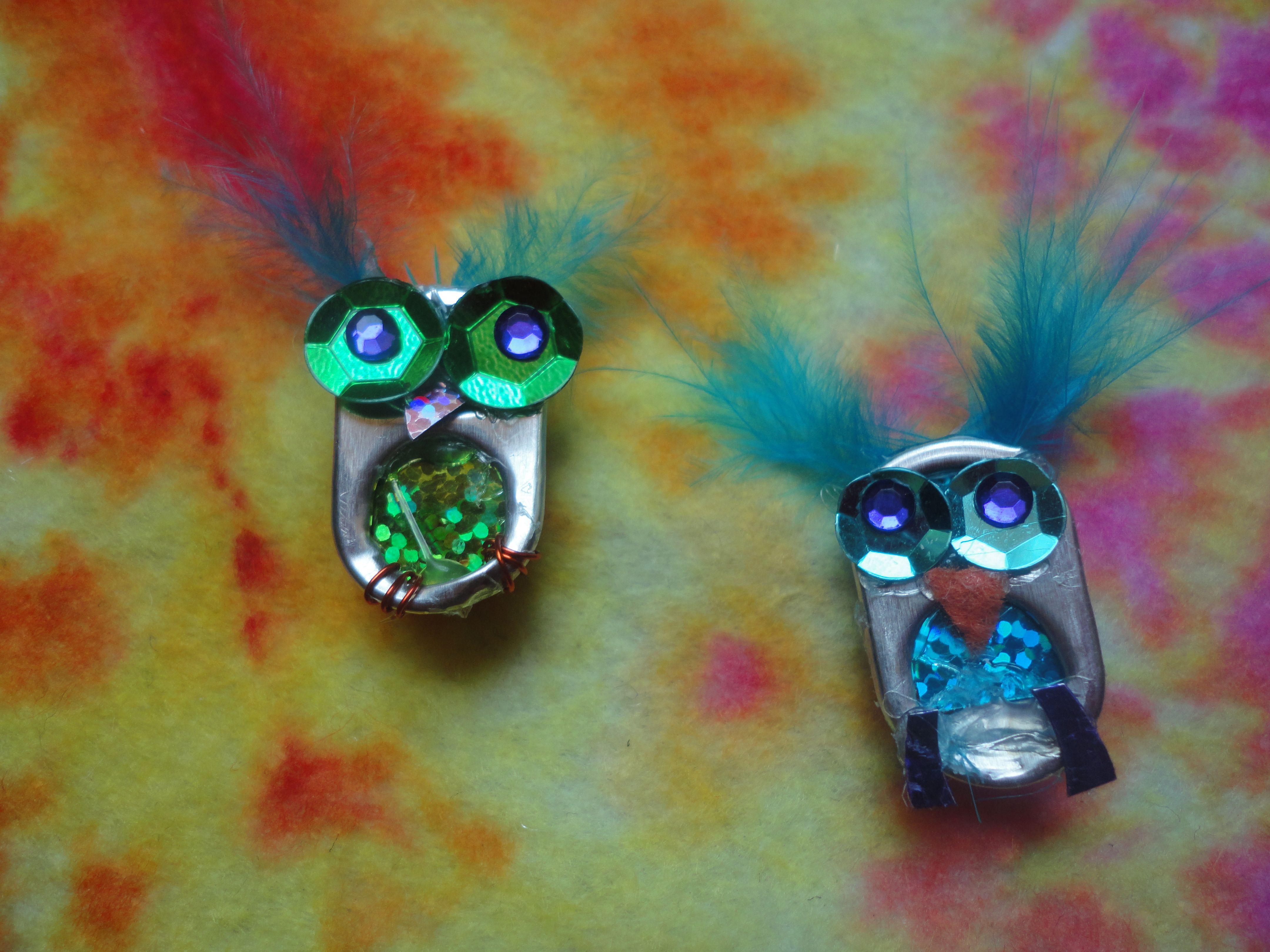 Soda pop tabs crafts - Pop Can Tab Owls