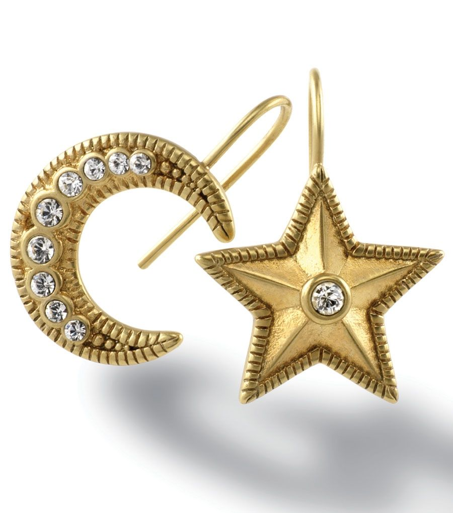 Moon & star earrings - perfectly mismatched.