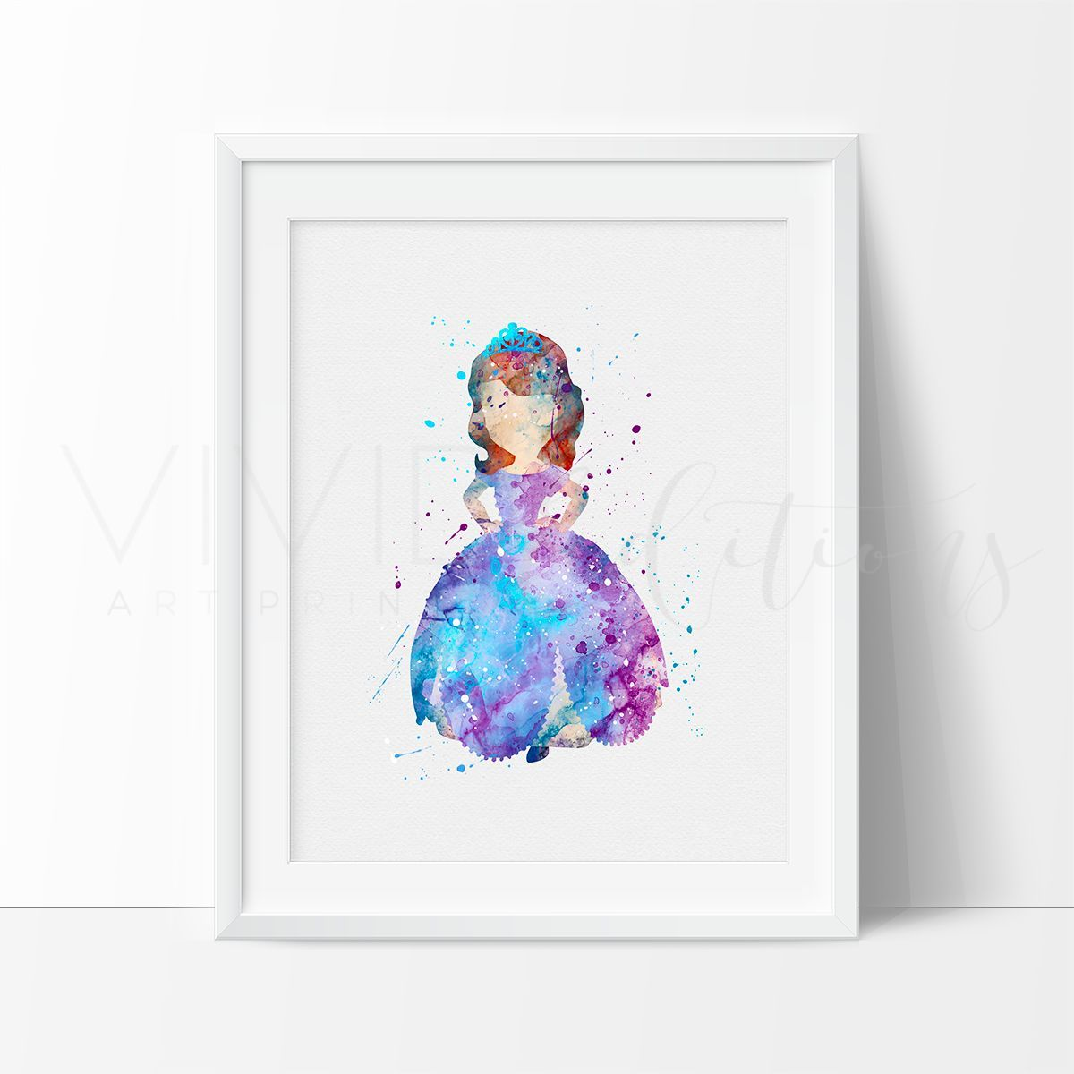 Description specs processing shipping break away from the princess sofia sofia the first watercolor art print amipublicfo Images