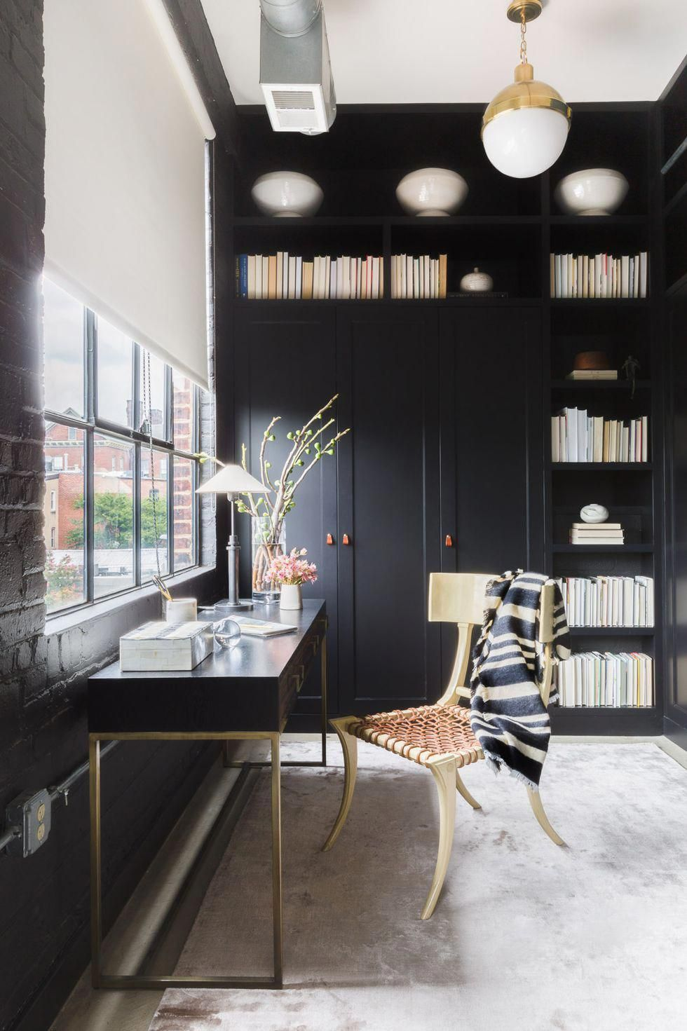 Home office with wall storage and murphy bed decorating ideas