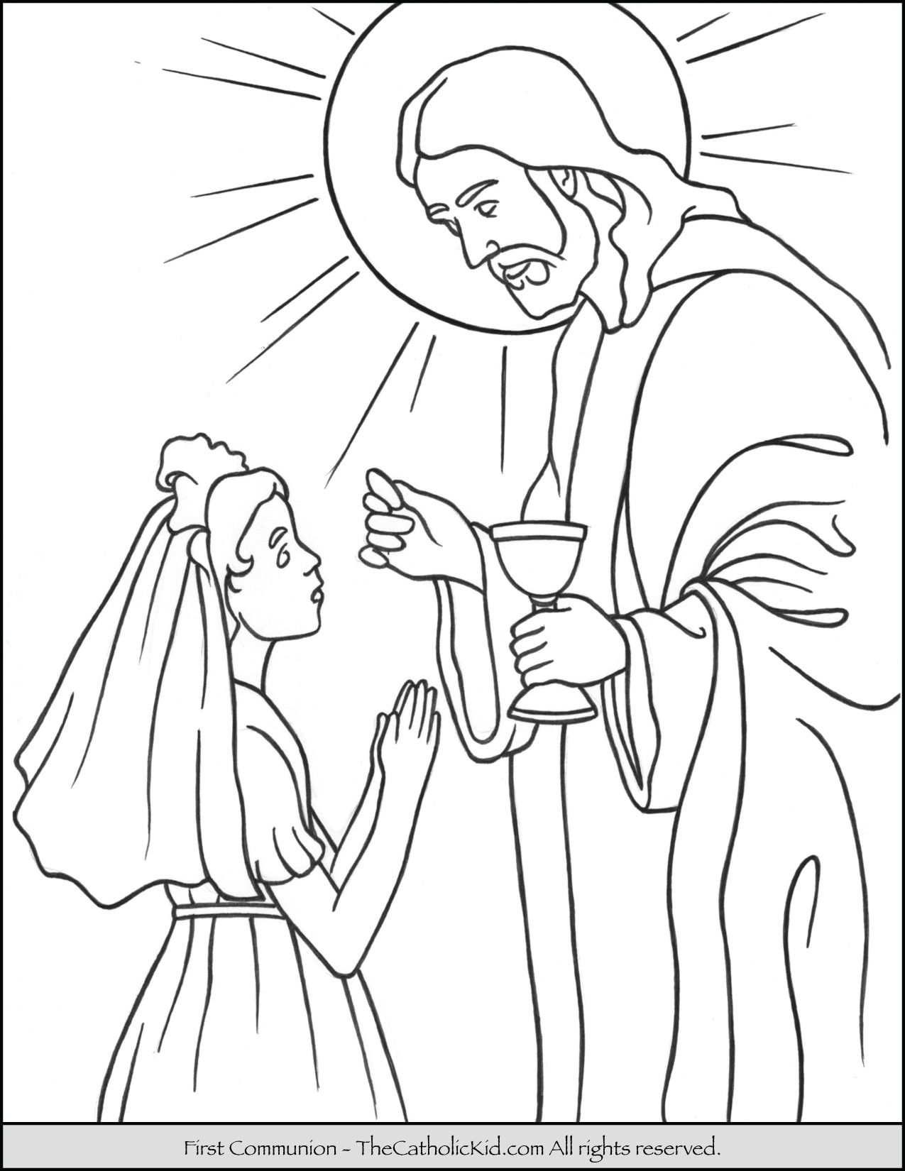 First Communion Girl Coloring Page with Jesus. Close up