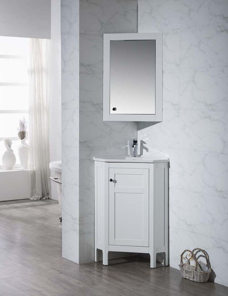 24 Bathroom Vanity With Medicine Cabinet clarkson 24-inch corner bathroom vanity with medicine cabinet