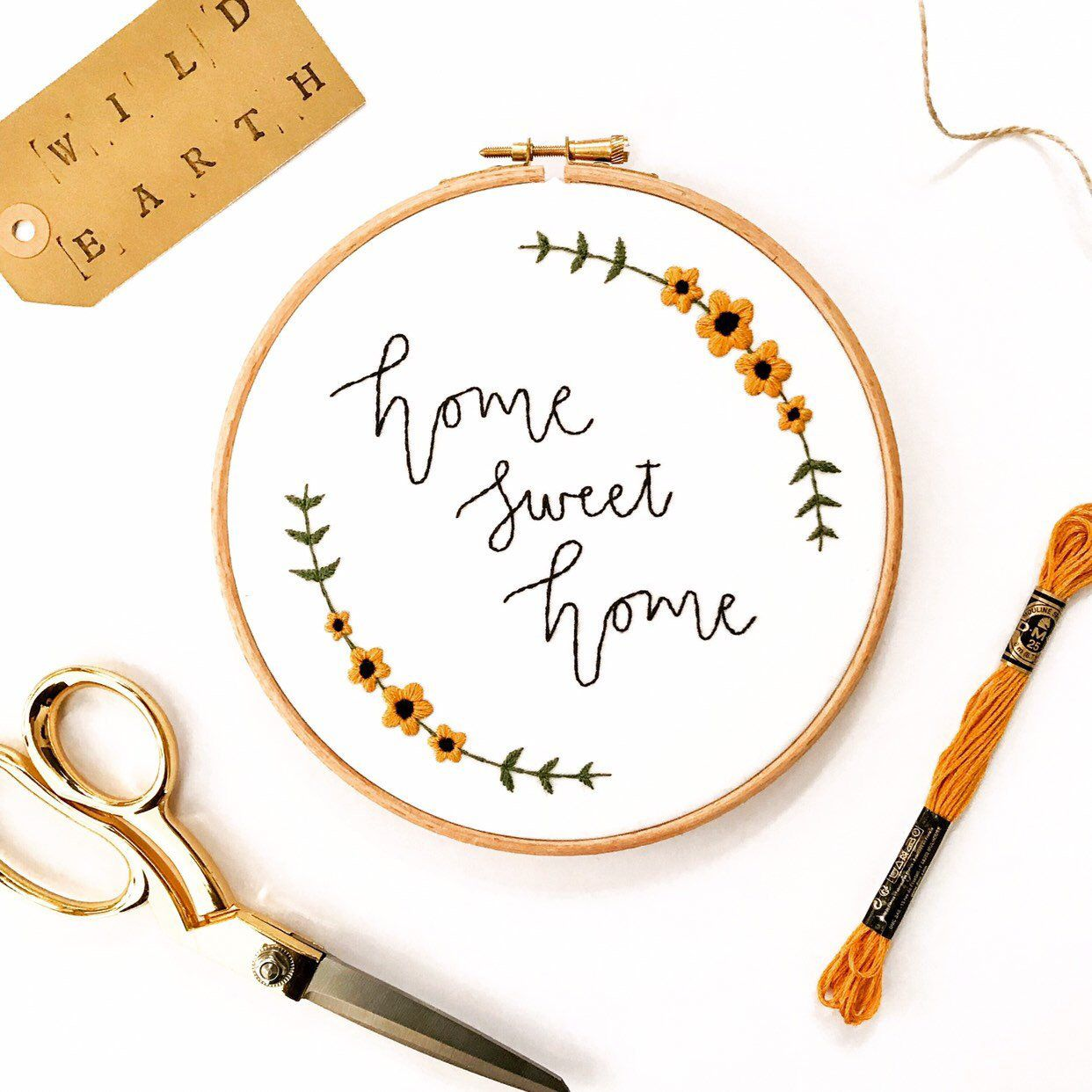 Home Sweet Home Hand Embroidery Sign, Modern Embroidery, Floral Hand Embroidery, Housewarming Gift, Embroidery Home Decor