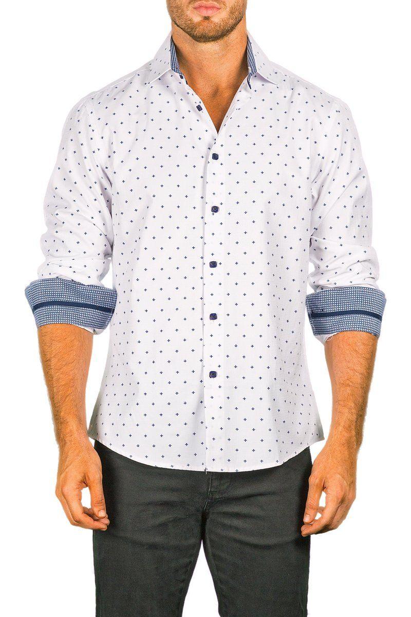 Bespoke mens white button up long sleeve dress shirt