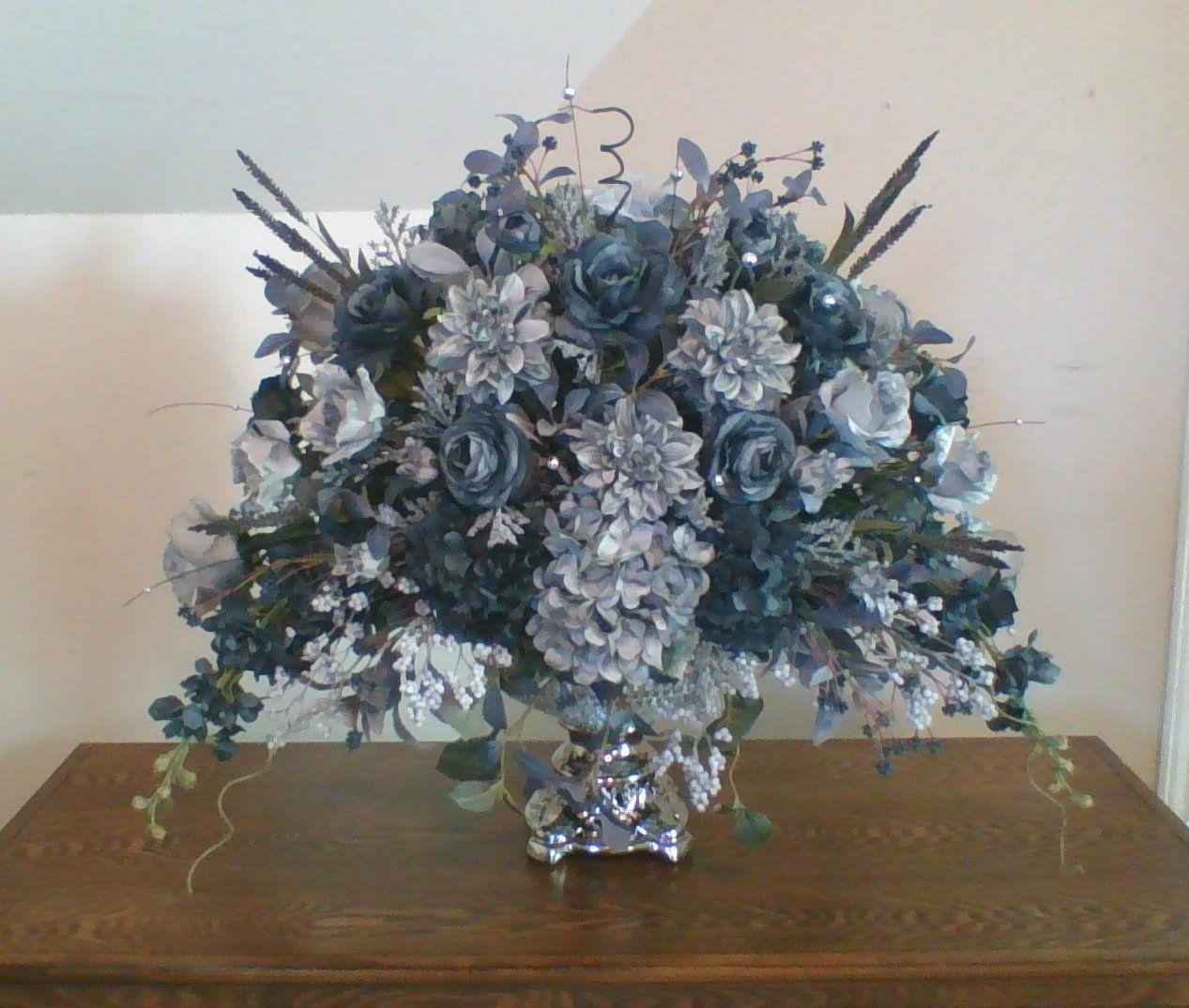 Floral Arragement Midnight Blue Centerpiece Elegant Luxury Etsy Blue Centerpieces Floral Arrangements Floral