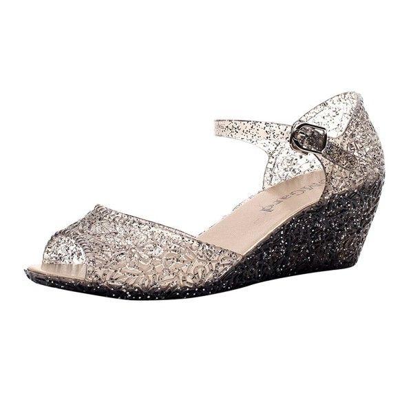 fa4b876cec1b Womens Summer Heels Sandals Peep-Toe Wedge Glitter Jelly Shoes Platform 3  Color - Black