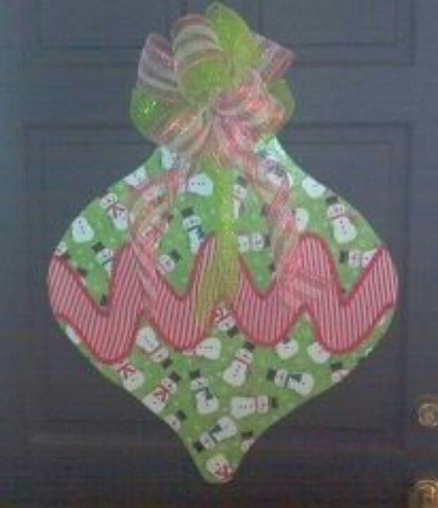 Snowmen & Chevron CHRISTmas Ornament Wooden Door Hanger ... decoupaged with fabric