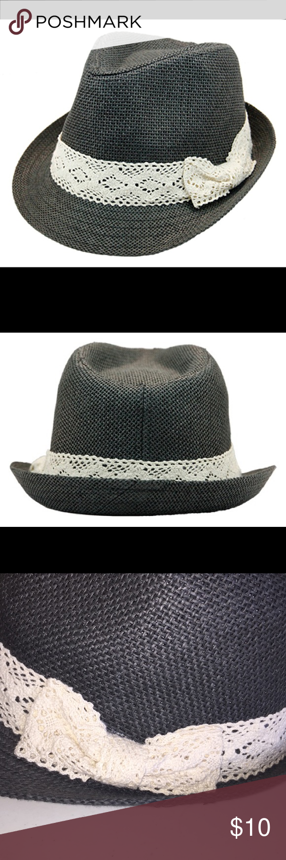 e436ea414f858 New women s lace band fedora Paper straw fedora. Crown measures 4 inch with  inner sweatband. Laced ribbon band around hat crown. Ones size fits most  women ...