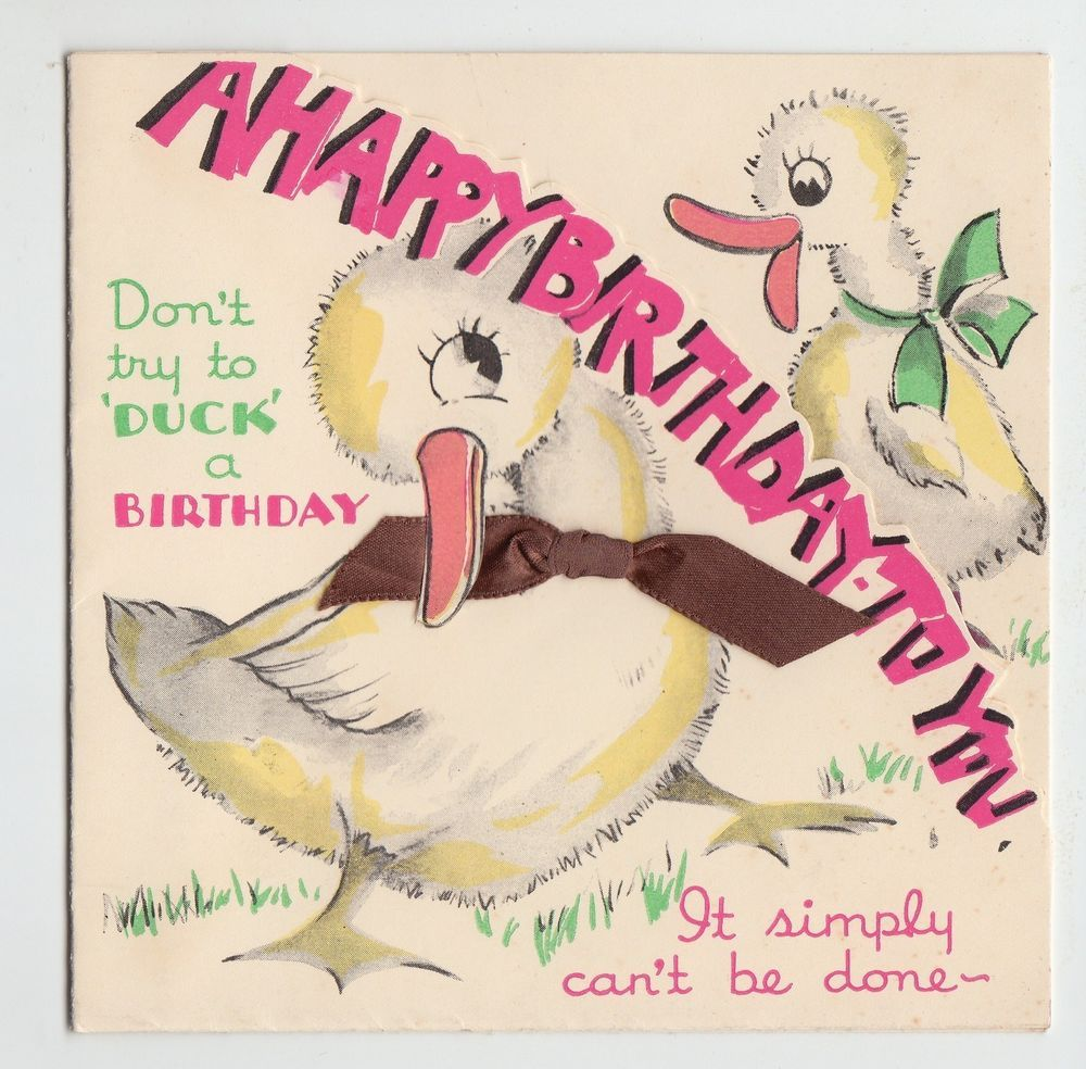 Vintage duck with brown ribbon birthday greeting card 2nd birthday cards m4hsunfo