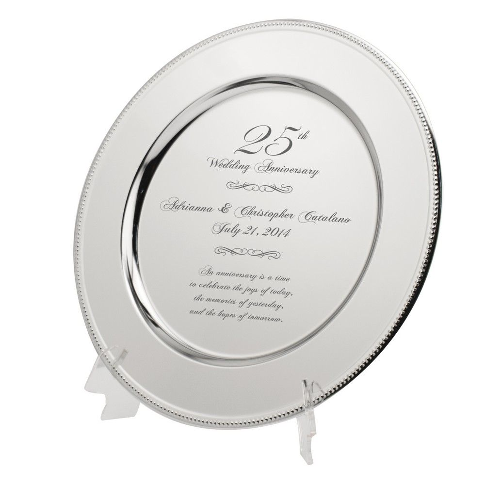 Personalized 25th Wedding Anniversary Plate