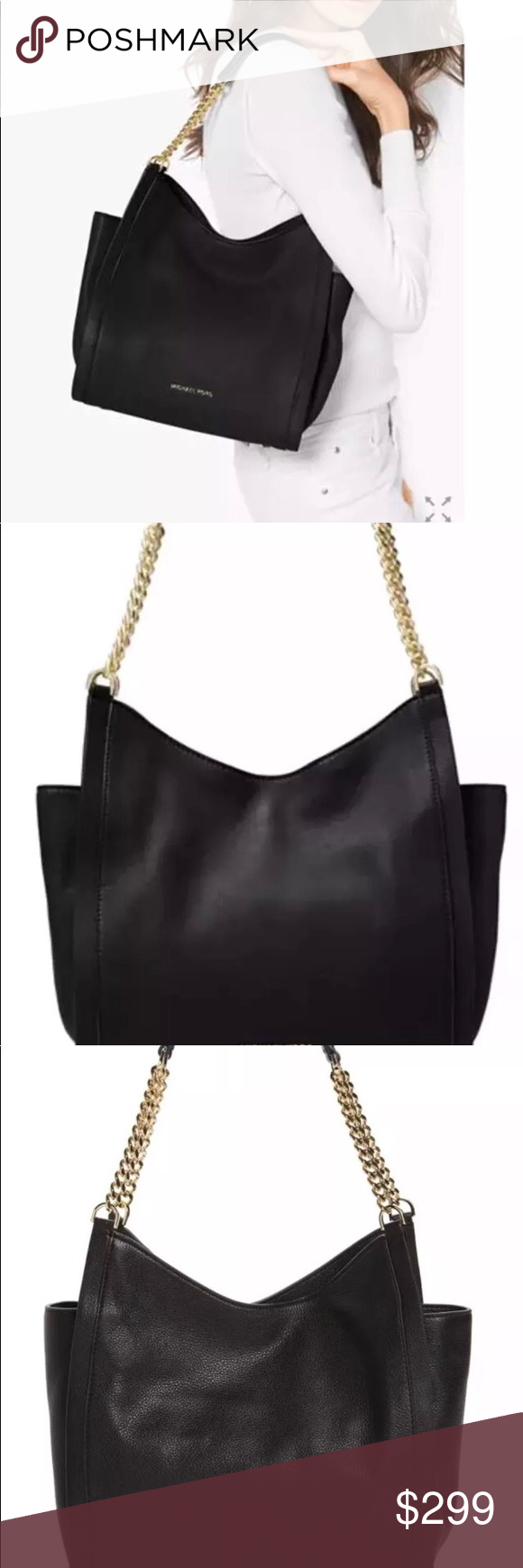 73166735711 Michael Kors Newbury chain MD bag black leather New with tags still in  original MK package