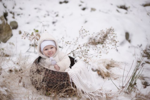 Snow shoot ideas to keep baby dry and warm.