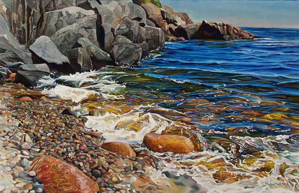 "Watercolor : ""Joyful Day, Water Over Mountain"",  ©Marjorie Glick"