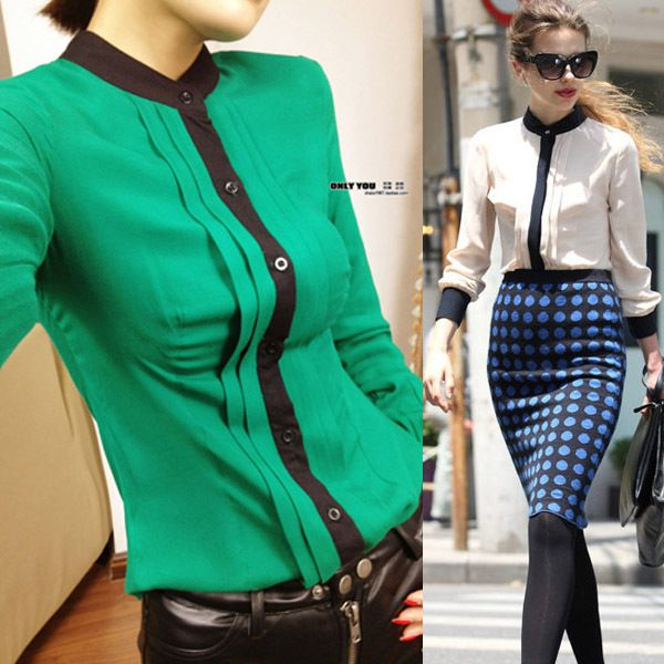 Lady's Solid Color Pleated OL Long Sleeve Botton Down Shirt Blouse Tops CY0437