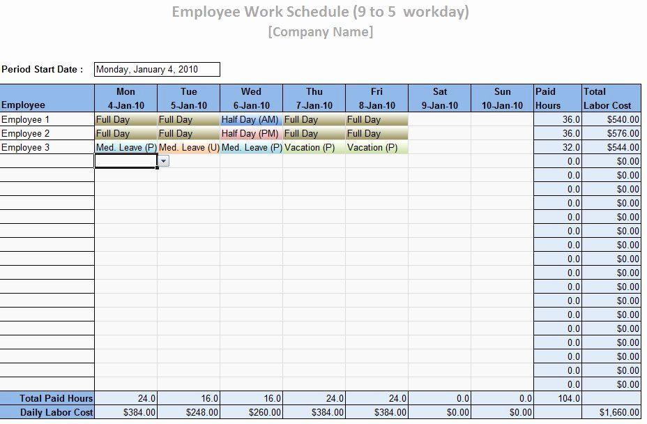 Employee Weekly Schedule Template Free Unique Employee Work