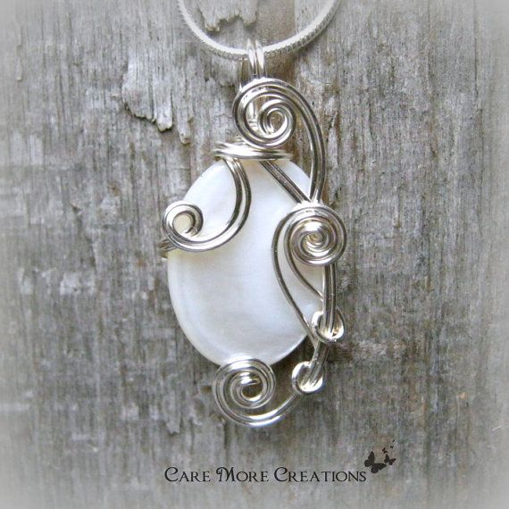 Opalescent White Mop Shell Silver Wire Wrapped Pendant By