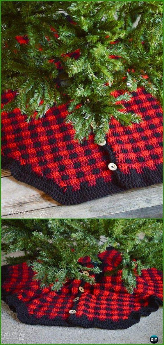 Crochet Plaid Tree Skirt Free Pattern