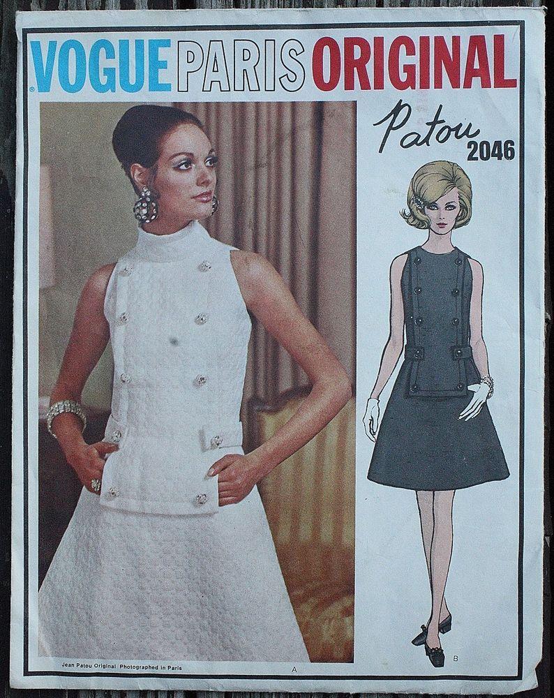 Vintage Vogue Paris Original PATOU Sewing Pattern 2046 1960s 60s Rare Mod Dress