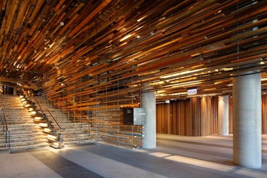 March Studio Suspends Over 2 000 Flying Pieces Of Reclaimed Wood In Canberra S Ultra Green Nishi Building Wood Interior Design Wood Slat Ceiling Reclaimed Wood Ceiling