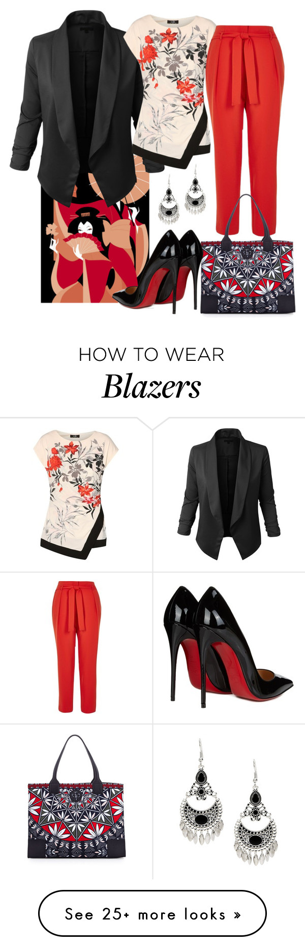 """""""oriental"""" by minaagar on Polyvore featuring LE3NO, River Island, Tory Burch and Christian Louboutin"""