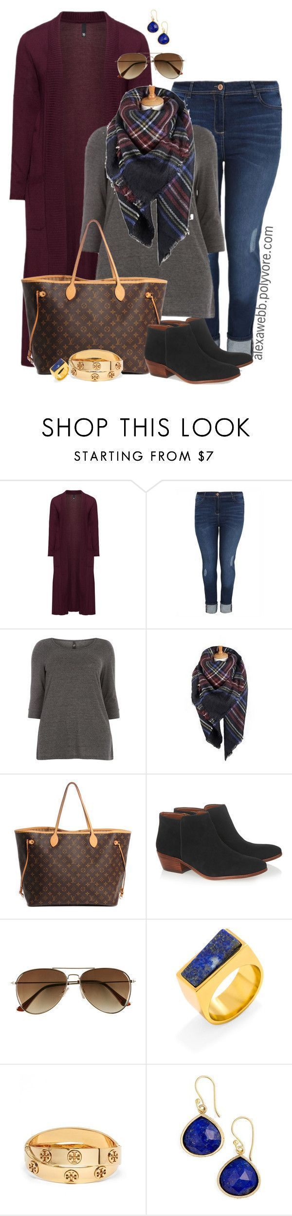 """Plus Size - Fall Casual Outfit"" by alexawebb ❤️ liked on Polyvore featuring Manon Baptiste, Louis Vuitton, Sam Edelman, H&M, BaubleBar, Tory Burch, SonyaRené️️e, outfit, plussize and plussizefashion"
