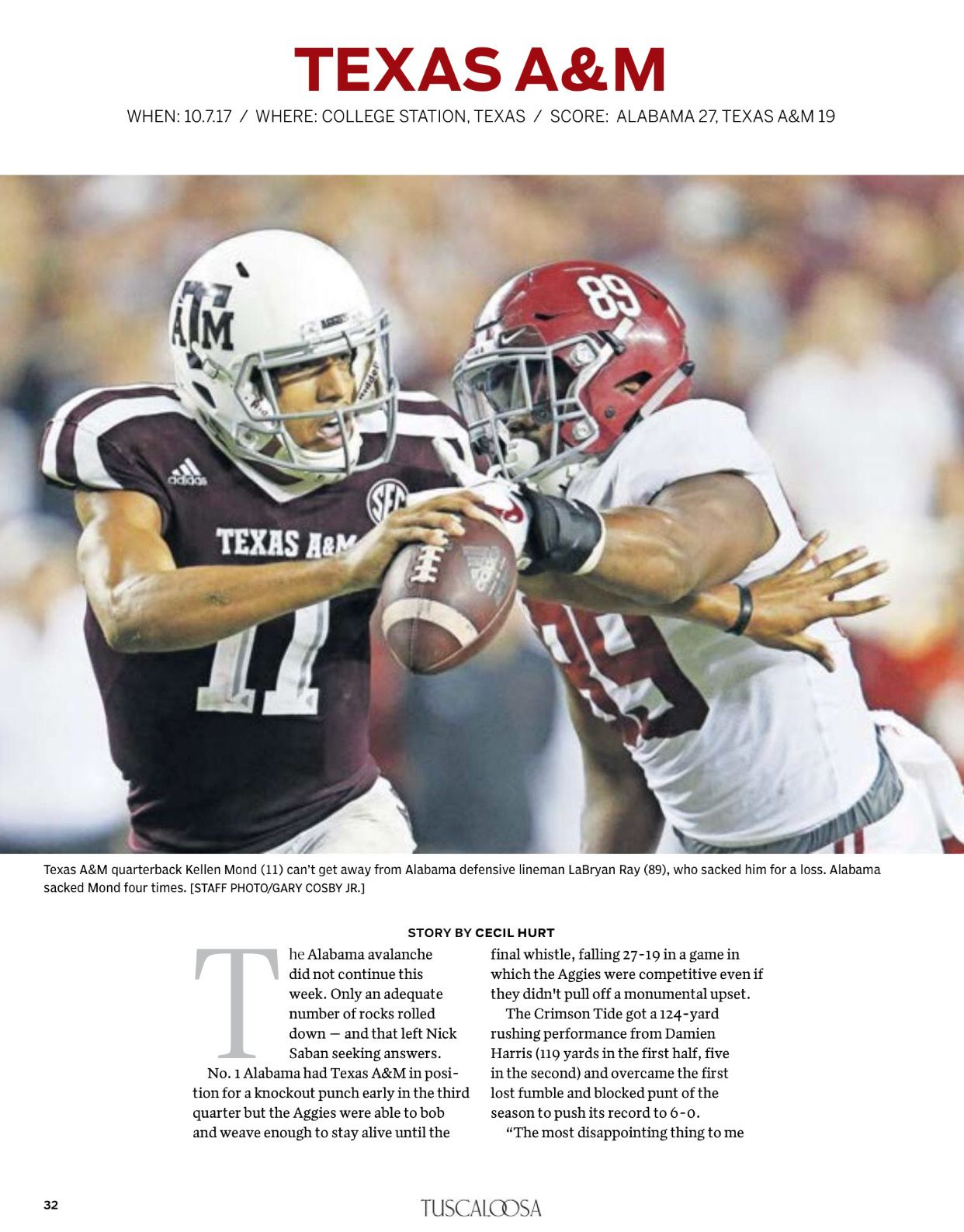 "Alabama vs Texas A&M recapping ""The 2017 National"