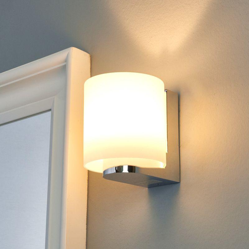 Applique LED Vesa salle de bains abat-jour verre blanc ...