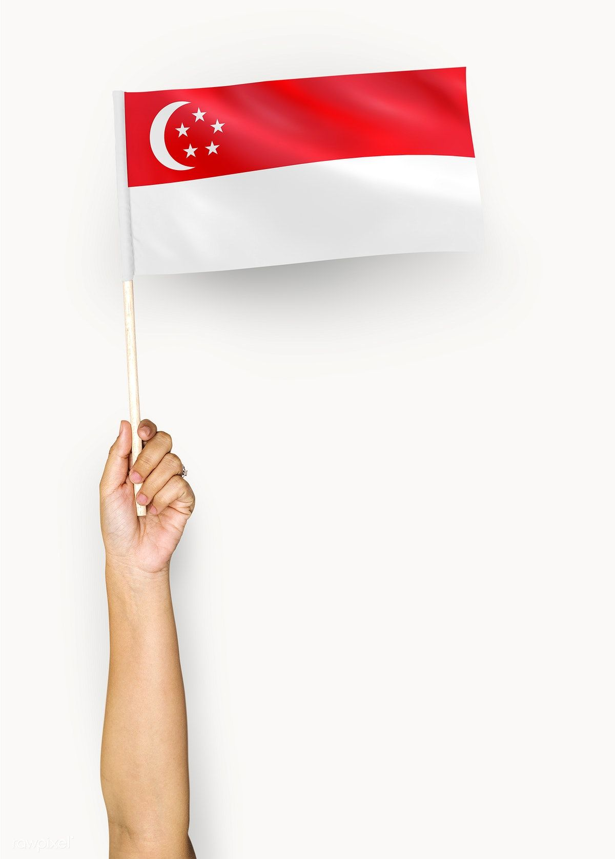 Person Waving The Flag Of Republic Of Singapore Premium Image By Rawpixel Com Flag Singapore Singapore Flag