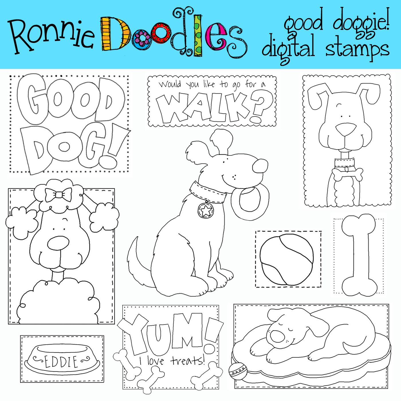 Good Dogs Digital Stamps