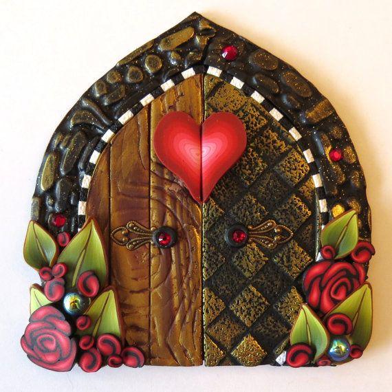 Queen of Hearts Valentine Fairy Door Pixie Portal by Claybykim