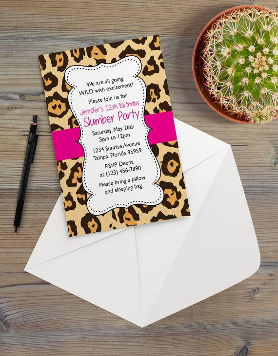 Instant Download - Cheetah Leopard Bright Pink Animal Print Safari - microsoft party invitation templates