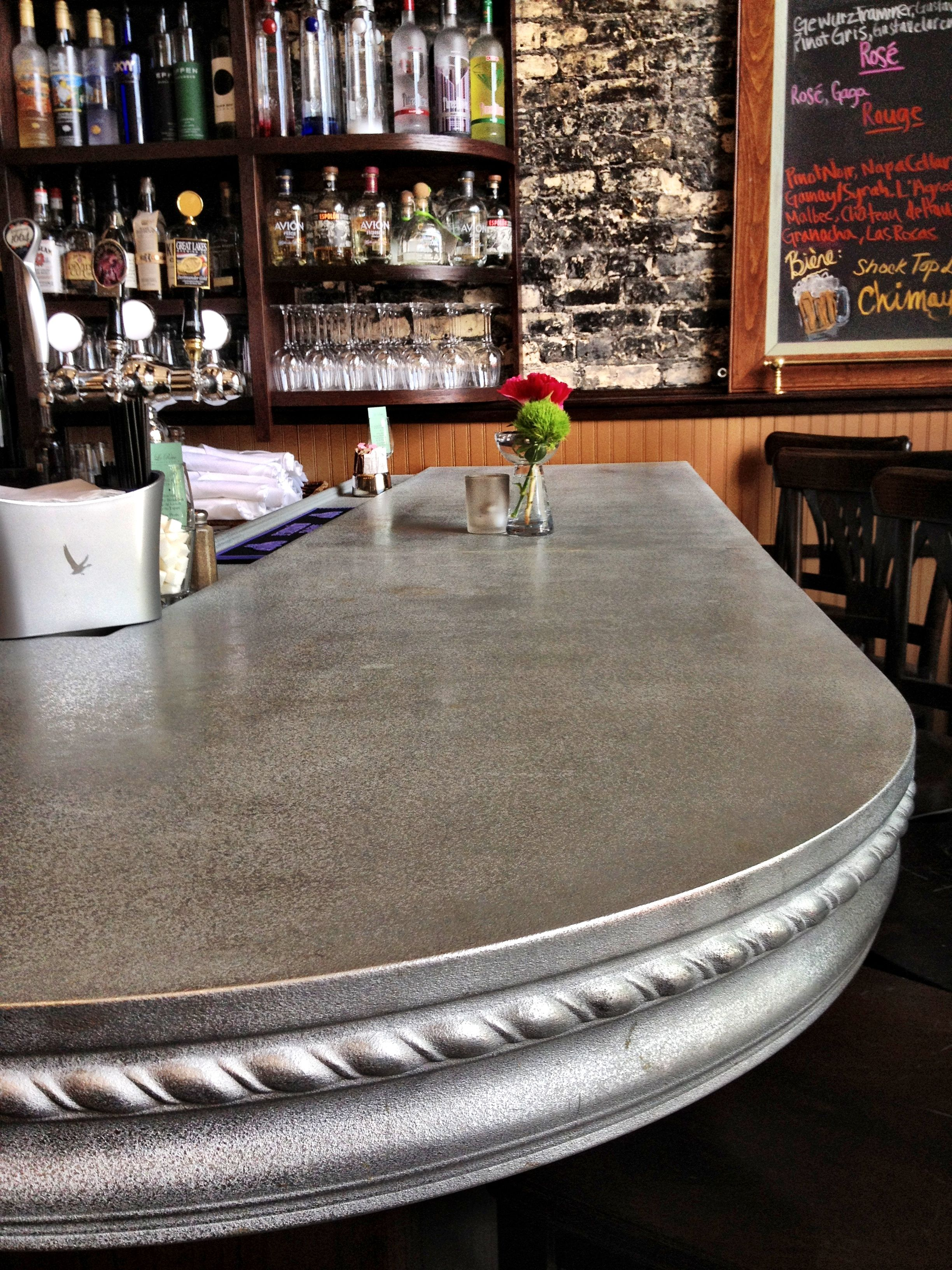 Our Curved Pewter Bar Top Design For Le Rêve Patisserie Cafe Zinc Countertopsbar Topsmetal