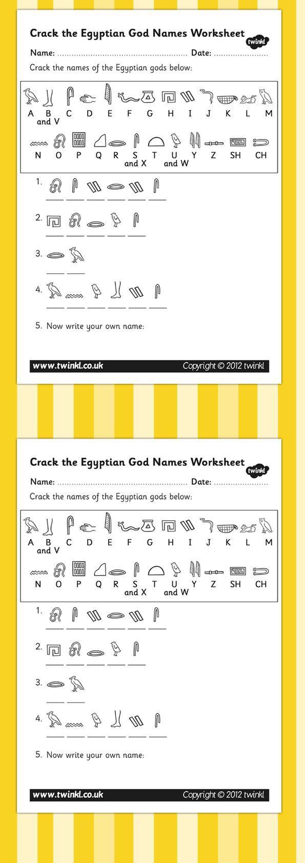 Worksheet Ancient Egyptian Homework Ks2 ks2 ancient egypt crack the hieroglyphs egyptian gods names worksheets
